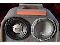 CAR TWIN SUBWOOFER 2200 WATT JBL AND FLI 2 X 12 INCH WITH AMPLIFIER SUB WOOFER AMP