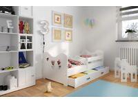 Pine Wood Slatted Bed Frame for Children Toddler White Blue Pink Colors Mattress