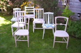 7 assorted dining/kitchen chairs painted upcycled