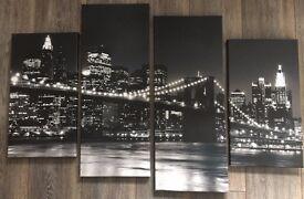 New York Black & White Canvas, 4 Panels, 101 x 68 cm