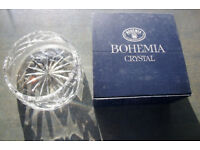 Unused vintage Bohemia Czechoslovakia hand cut lead crystal bowl, dish in original box. £18 ovno.
