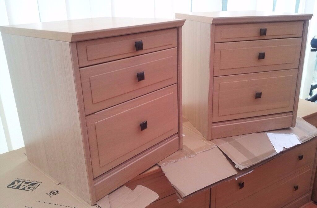 2 x bedside chest of drawers - beech effect