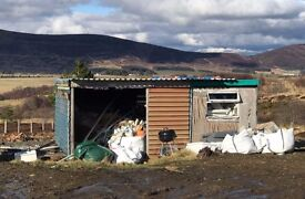 Old shed and polystyrene blocks
