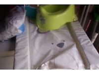 BABY CHANGING MAT ,POTTY AND PAMPERS