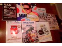 "7 assorted cycling books - Includes brand new ""Science of the Tour de France"" by James Witts"