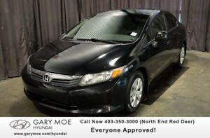 2012 Honda Civic LX W/ TINTED WINDOWS, LOW KMS, SPARE KEY!