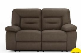 TWO SEATER SOFA AND CHAIR, MANUALRECLINERS, only one year old....immaculate, Brown, faux suede feel