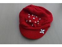 Ladies Red Capped Hat.