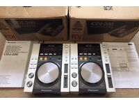 2 X Pioneer CDJ 200 With Original Box, Instructions, Power Cables & Phono Leads