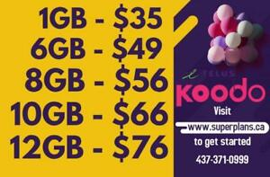 1/2/4/6/8/10/12/15 GB - Reduced Setup Fee and Bonus Credits - Koodo Canada-wide Phone Plan - www.SuperPlans.ca