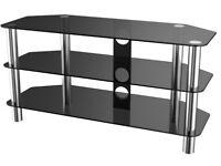 Black Glass & Chrome TV Stand For Sale