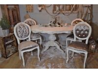 Shabby Chic Italian Dining Table & 4 French Style Chairs Champagne Velvet