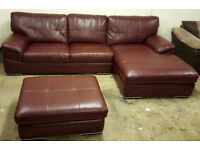 Gorgeous Genuine Leather Corner Sofa And Footstool. Local delivery available