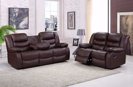 Romano 3 & 2 Brown Bonded Leather Luxury Recliner Sofa Set With Pull Down Drink Holder. UK Delivery!