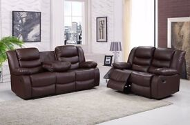 Raye Luxury 3&2 Bonded Leather Recliner Sofa Set With Pull Down Drink Holder