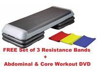 Aerobic Step Adjustable Pro Stepper 3 Step Levels: FREE SET OF RESISTANCE BANDS