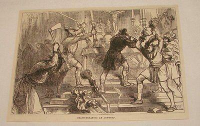 1880 magazine engraving ~ IMAGE BREAKING AT ANTWERP, Belgium