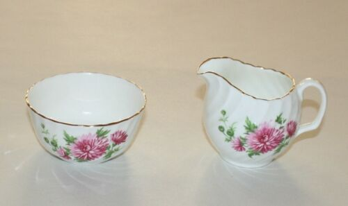 Adderley Bone China Pink Mum Individual Size Creamer Open Sugar Bowl Set England