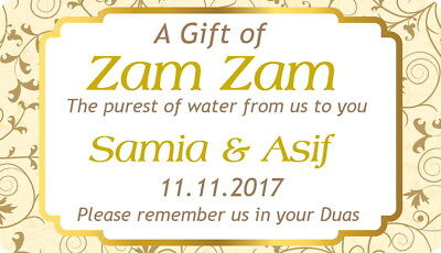 10 PERSONALISED GLOSSY ZAM ZAM WATER STICKERS,LABELS ANY COLOUR TO MATCH FAVORS  Match Favor Stickers
