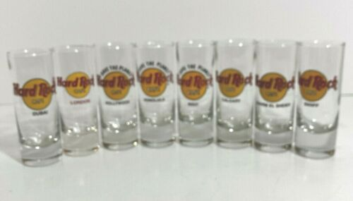 Lot of 7 Different Hard Rock Cafe Shot Glasses from Around the World Collection