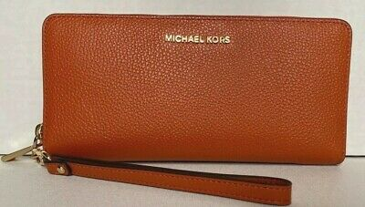 New Michael Kors Jet Set Travel Continental wallet Leather Burnt Orange