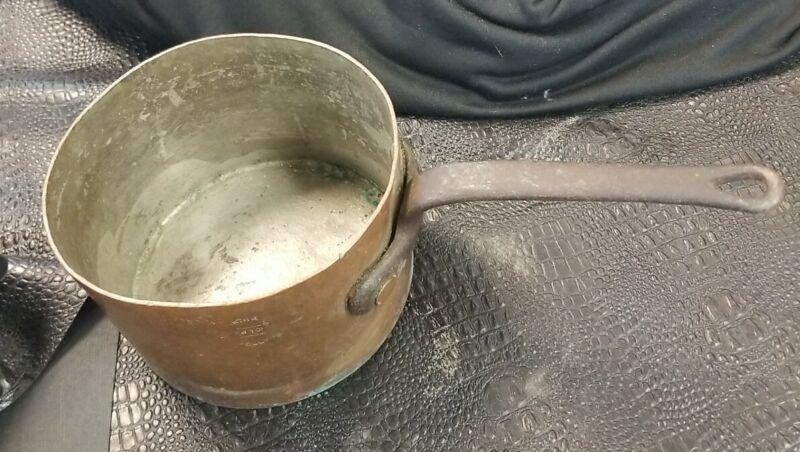 "Antique BARTH & SON NEW YORK Copper Pot Pan Cast Iron 6"" w 4"" h"