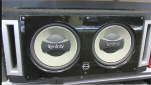 """^** 2 12"""" INFINITY SUBS WITH ALPINE AMP!!"""