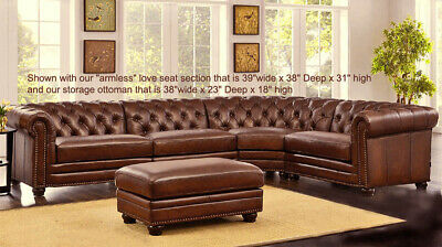 Best NEW Chesterfield Top Grain Brown Leather 4 Section Sofa RH Quality - $4,895.00