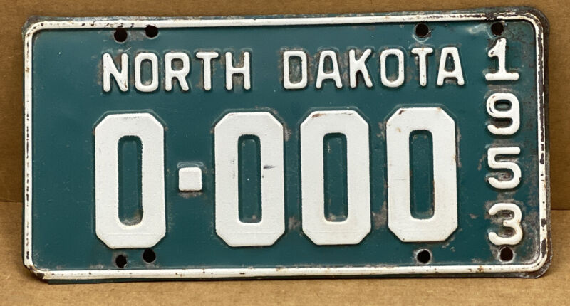 ORIGINAL 1953 •NORTH DAKOTA• SAMPLE LICENSE PLATE ( 0•000 ) SHIPS FREE