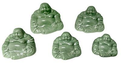 Celadon Green Ceramic Buddhas Set of 5 for Collecting  & Great in Bonsai and Zen