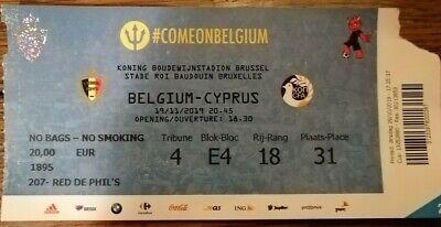 Ticket footbal Belgium - Cyprus Chypre 19/11/2019 Qualification EURO 2020 mint