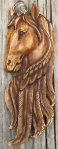 Horse Pendant-buffalo bone Bali carving w/Sterling