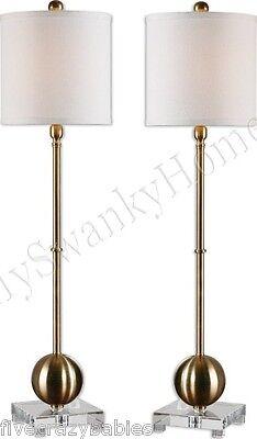 Modern BRUSHED BRASS Buffet Lamp Set PAIR White Shade Sleek Contemporary Table ()
