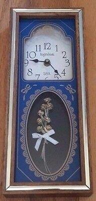 Mid Century Ingraham Clock Mantal or Wall Battery USA Floral Design Blue Wood