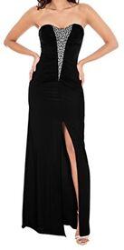 Black strapless long diamanté trim ruched bandeau maxi cocktail party or evening dress