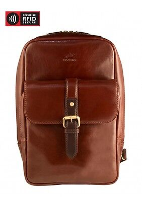NEW MANCINI LEATHER CALABRIA SLING BACKPACK WITH TABLET SLEEVE BROWN
