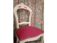 Louis Chair in white and pink - newly refurbished