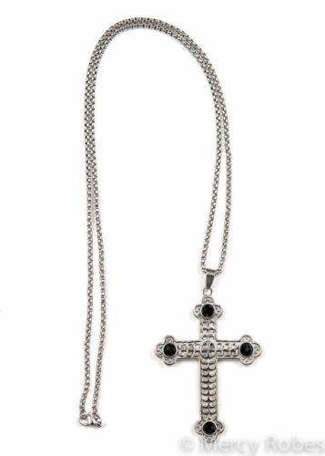 "Clergy Pectoral Cross w/Chain (SBATS001 S-B), Black Stones, 36"" Chain, Christian"