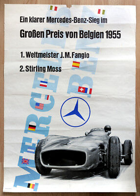 "org. Mercedes Plakat Poster ""Großen Preis von Belgien"" St. Moss / J. Fangio 1955"