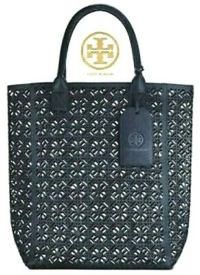 TORY BURCH Navy Blue PERFORATED Lace TOTE Chic SHOPPER Carry-All Bag NWT!