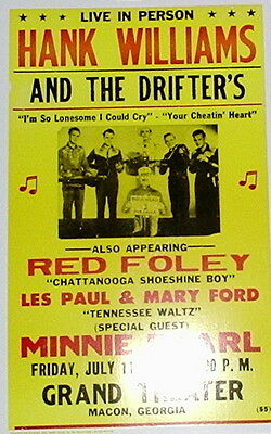 """Hank Williams & the Drifters Concert Poster - 1952 - w/ Red Foley ... 14""""x22"""""""