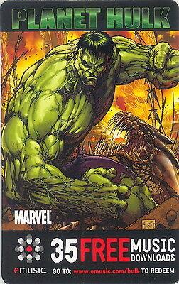 Planet Hulk 2006 Marvel Music Downloads Phonecard Style Promo Card