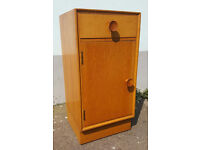 1960s Oak Veneer Bedside Cabinet/Nightstand. Meredew. Vintage/Retro/Mid Century