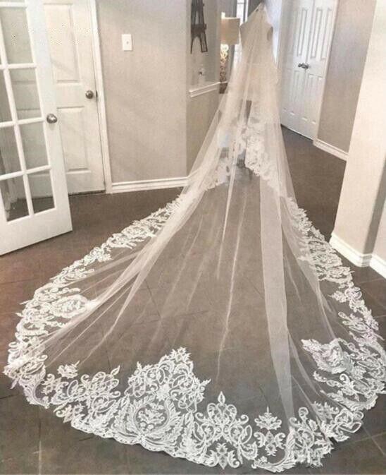 Elegant Bride White Ivory 1 Tier Wedding Veils 3M Cathedral Lace Appliqued Veil