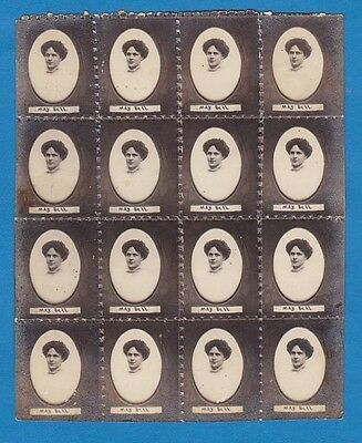 vintage foto nice woman May Bell photo process personalized 16 stamps block 1910