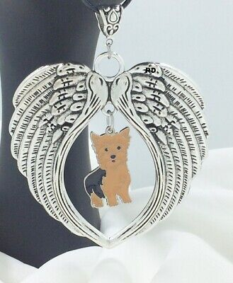 Adorable Yorkie - Large Angel Wings with adorable Yorkie  Dog Charm   Memory Leather Necklace