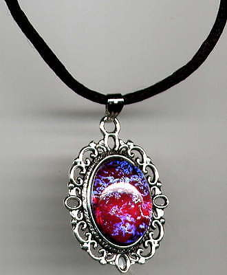 AMAZING FIRE OPAL DRAGONS BREATH Mexican crystal Antique Silver Lace Necklace
