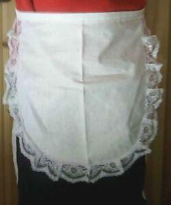 CHILDS GIRLS EDWARDIAN VICTORIAN WHITE LACE WAITRESS APRON/PINNY /FANCY DRESS