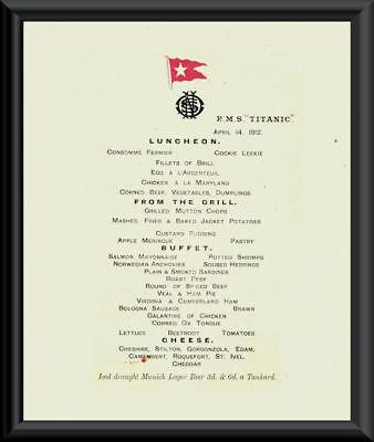Titanic Last Menu White Star Line Reprint On Fine Linen Paper *P010