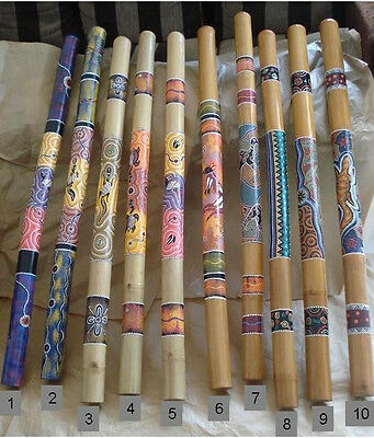 "39""(100cm) Aboriginal DIDGERIDOO Dot-Painting Ornaments +Bag +Beeswax Mouthpiece"